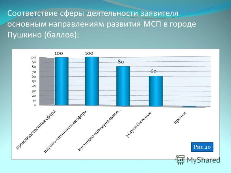 Соответствие сферы деятельности заявителя основным направлениям развития МСП в городе Пушкино (баллов):