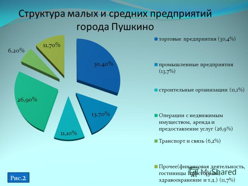 Структура малых и средних предприятий города Пушкино Рис. 2