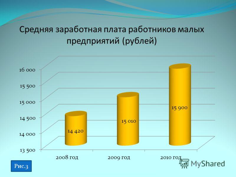 Средняя заработная плата работников малых предприятий (рублей) Рис.3