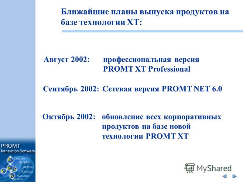 Ближайшие планы выпуска продуктов на базе технологии XT: Август 2002: профессиональная версия PROMT XT Professional Октябрь 2002: обновление всех корпоративных продуктов на базе новой технологии PROMT XT Сентябрь 2002: Сетевая версия PROMT NET 6.0