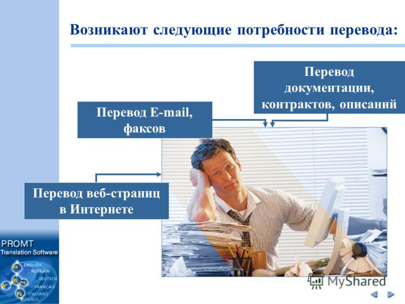 Возникают следующие потребности перевода: Перевод E-mail, факсов Перевод документации, контрактов, описаний Перевод веб-страниц в Интернете