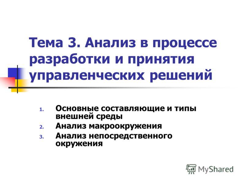 Тема 3. Анализ в процессе разработки и принятия управленческих решений 1. Основные составляющие и типы внешней среды 2. Анализ макроокружения 3. Анализ непосредственного окружения