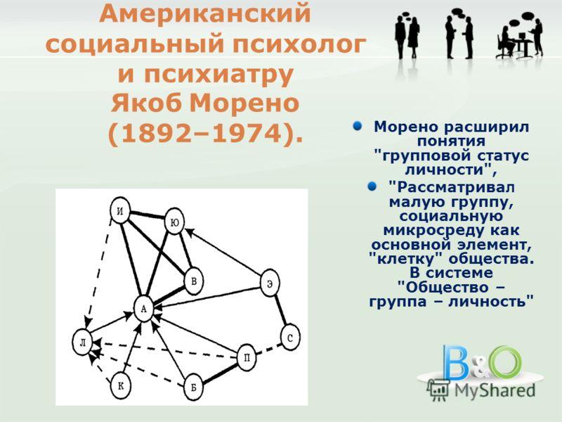 Морено расширил понятия групповой статус личности, Рассматрива л малую группу, социальную микросреду как основной элемент, клетку общества. В системе Общество – группа – личность