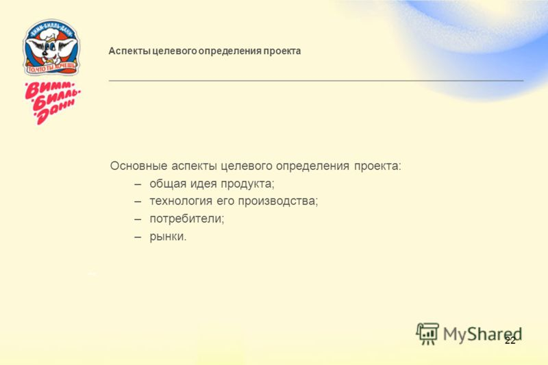 22 Аспекты целевого определения проекта Основные аспекты целевого определения проекта: –общая идея продукта; –технология его производства; –потребители; –рынки.