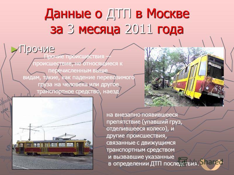 Данные о ДТП в Москве за 3 месяца 2011 года Прочие Прочие Прочие происшествия происшествие, не относящиеся к перечисленным выше видам, такие, как падение перевозимого груза на человека или другое транспортное средство, наезд на внезапно появившееся п