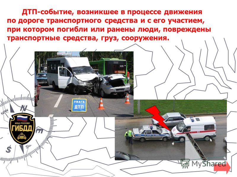 ДТП-событие, возникшее в процессе движения по дороге транспортного средства и с его участием, при котором погибли или ранены люди, повреждены транспортные средства, груз, сооружения.