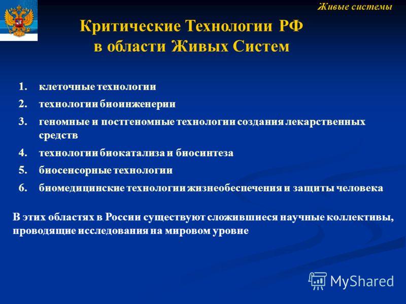В этих областях в России существуют сложившиеся научные коллективы, проводящие исследования на мировом уровне Живые системы Критические Технологии РФ в области Живых Систем 1.клеточные технологии 2.технологии биоинженерии 3.геномные и постгеномные те