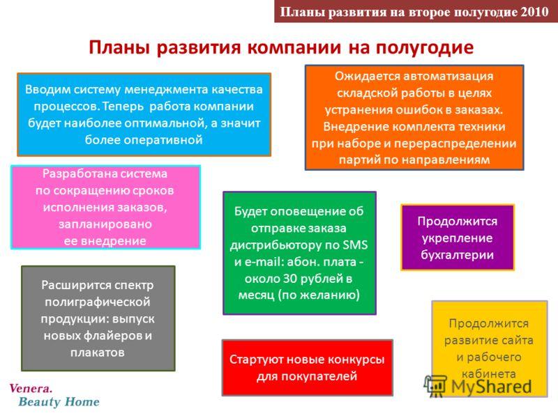 Планы развития компании на полугодие Планы развития на второе полугодие 2010 Вводим систему менеджмента качества процессов. Теперь работа компании будет наиболее оптимальной, а значит более оперативной Ожидается автоматизация складской работы в целях