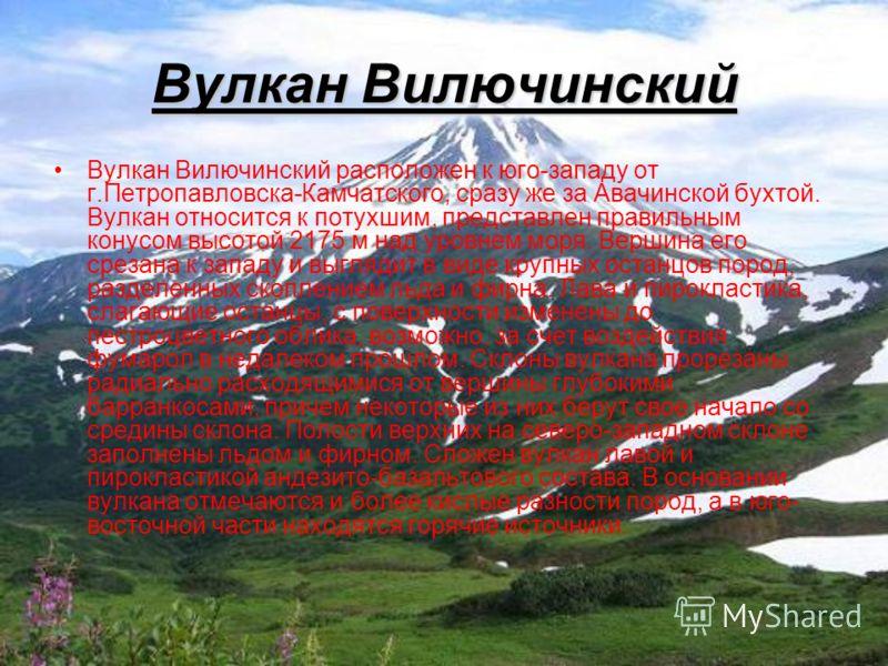 Вулкан Вилючинский Вулкан Вилючинский расположен к юго-западу от г.Петропавловска-Камчатского, сразу же за Авачинской бухтой. Вулкан относится к потухшим, представлен правильным конусом высотой 2175 м над уровнем моря. Вершина его срезана к западу и