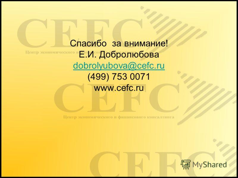 Спасибо за внимание! Е.И. Добролюбова dobrolyubova@cefc.ru (499) 753 0071 www.cefc.ru dobrolyubova@cefc.ru