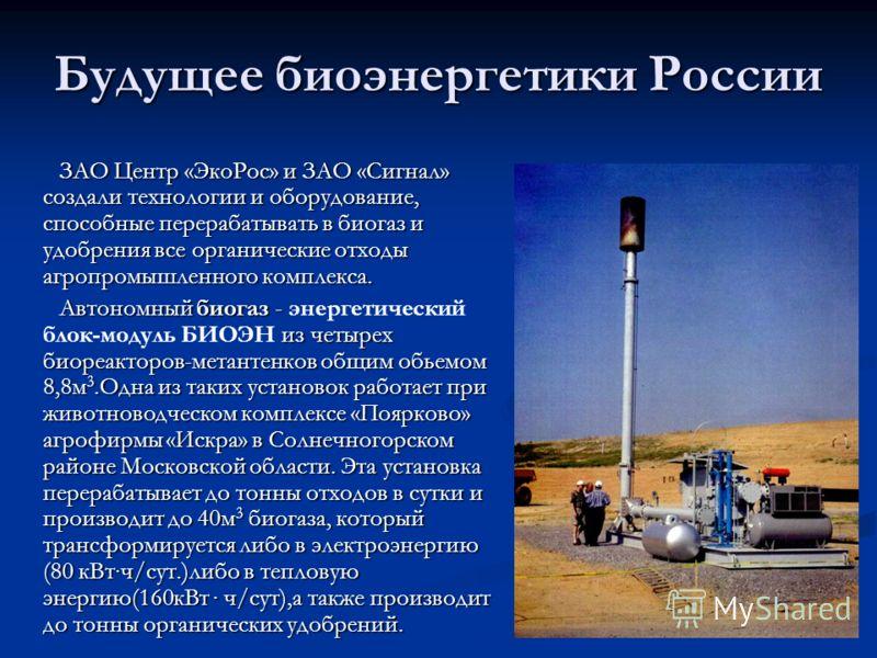 Будущее биоэнергетики России ЗАО Центр «ЭкоРос» и ЗАО «Сигнал» создали технологии и оборудование, способные перерабатывать в биогаз и удобрения все органические отходы агропромышленного комплекса. Автономный биогаз - из четырех биореакторов-метантенк