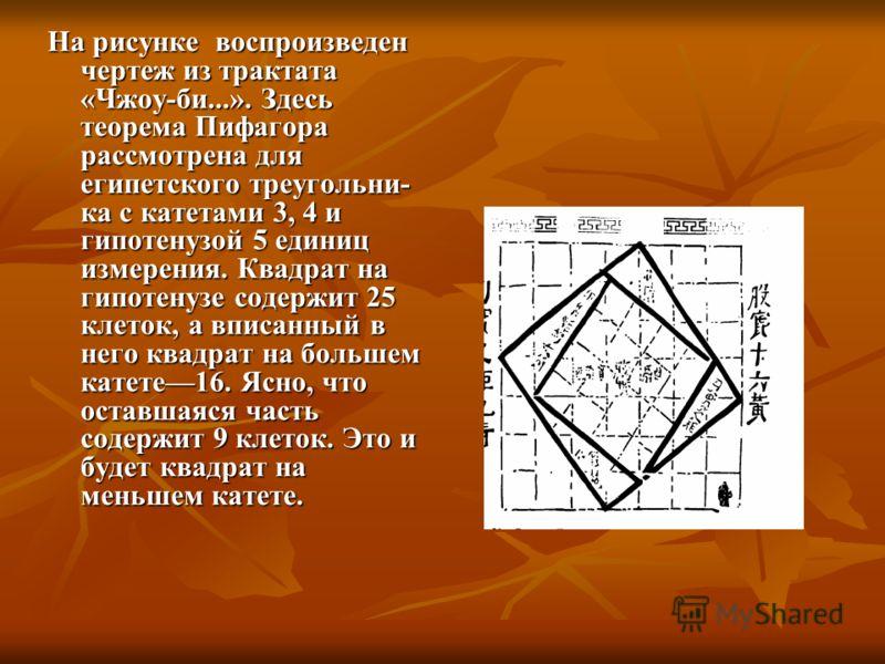 На рисунке воспроизведен чертеж из трактата «Чжоу-би...». Здесь теорема Пифагора рассмотрена для египетского треугольни ка с катетами 3, 4 и гипотенузой 5 единиц измерения. Квадрат на гипотенузе содержит 25 клеток, а вписанный в него квадрат на боль