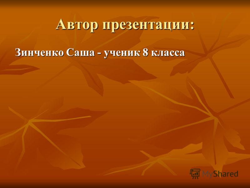 Автор презентации: Зинченко Саша - ученик 8 класса