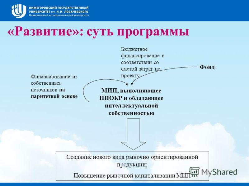 «Развитие»: суть программы МИП, выполняющее НИОКР и обладающее интеллектуальной собственностью Фонд Финансирование из собственных источников на паритетной основе Бюджетное финансирование в соответствии со сметой затрат по проекту Создание нового вида