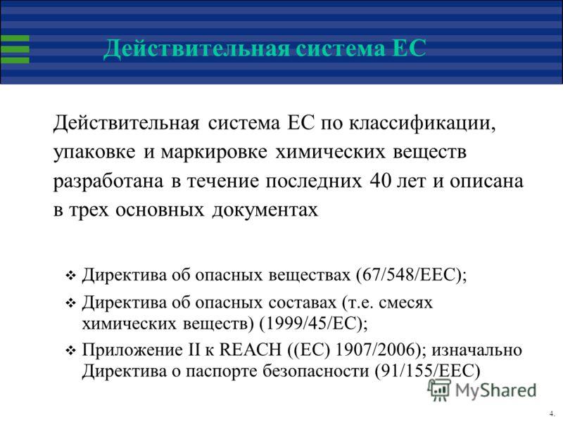 4. Действительная система ЕС Действительная система ЕС по классификации, упаковке и маркировке химических веществ разработана в течение последних 40 лет и описана в трех основных документах Директива об опасных веществах (67/548/EEC); Директива об оп