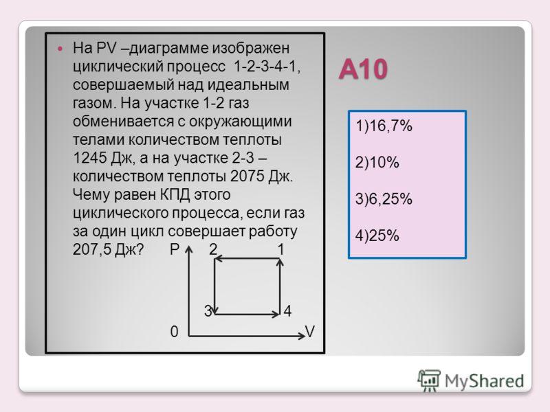 А10 1)16,7% 2)10% 3)6,25% 4)25% На РV –диаграмме изображен циклический процесс 1-2-3-4-1, совершаемый над идеальным газом. На участке 1-2 газ обменивается с окружающими телами количеством теплоты 1245 Дж, а на участке 2-3 – количеством теплоты 2075 Д