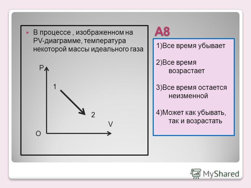 А8 1)Все время убывает 2)Все время возрастает 3)Все время остается неизменной 4)Может как убывать, так и возрастать В процессе, изображенном на PV-диаграмме, температура некоторой массы идеального газа Р 1 2 V О