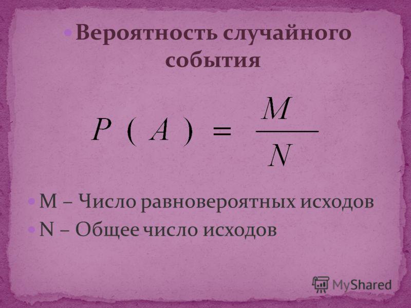 Вероятность случайного события M – Число равновероятных исходов N – Общее число исходов