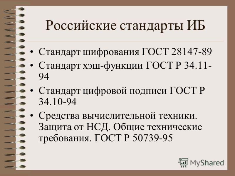 Российские стандарты ИБ Стандарт шифрования ГОСТ 28147-89 Стандарт хэш-функции ГОСТ Р 34.11- 94 Стандарт цифровой подписи ГОСТ Р 34.10-94 Средства вычислительной техники. Защита от НСД. Общие технические требования. ГОСТ Р 50739-95