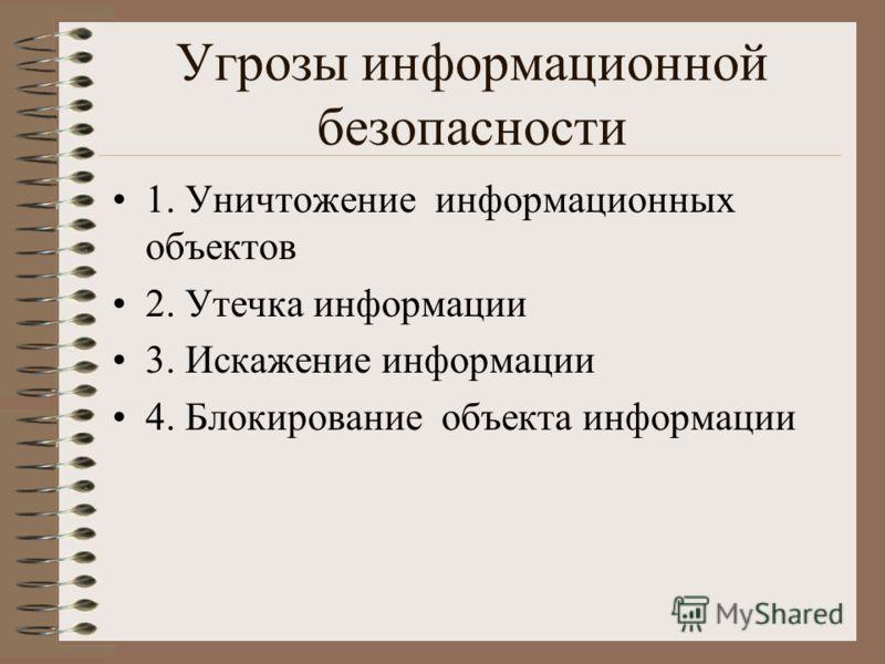 Угрозы информационной безопасности 1. Уничтожение информационных объектов 2. Утечка информации 3. Искажение информации 4. Блокирование объекта информации