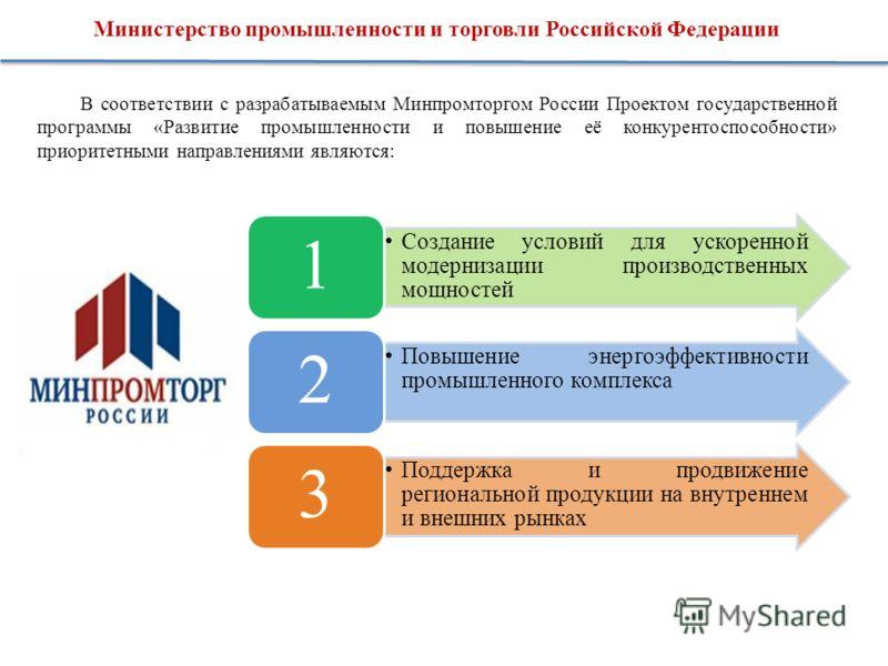 Министерство промышленности и торговли Российской Федерации В соответствии с разрабатываемым Минпромторгом России Проектом государственной программы «Развитие промышленности и повышение её конкурентоспособности» приоритетными направлениями являются: