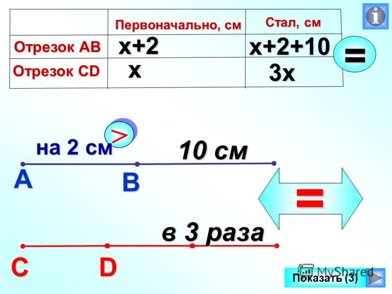 А В СD > > на 2 см на 2 см 10 см в 3 раза = Первоначально, см х х+2 х+2+10 3х Отрезок АВ Отрезок CD Стал, см = Показать (3)