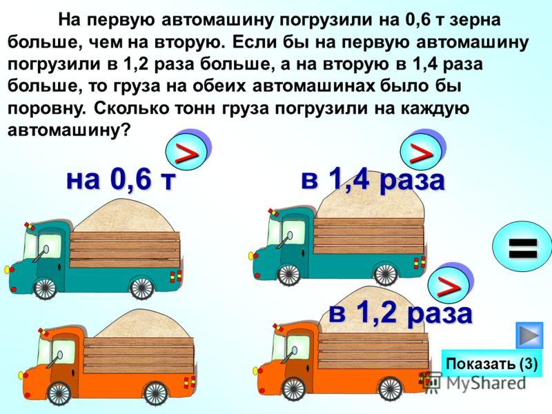 На первую автомашину погрузили на 0,6 т зерна больше, чем на вторую. Если бы на первую автомашину погрузили в 1,2 раза больше, а на вторую в 1,4 раза больше, то груза на обеих автомашинах было бы поровну. Сколько тонн груза погрузили на каждую автома