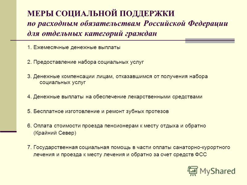 МЕРЫ СОЦИАЛЬНОЙ ПОДДЕРЖКИ по расходным обязательствам Российской Федерации для отдельных категорий граждан 1. Ежемесячные денежные выплаты 2. Предоставление набора социальных услуг 3. Денежные компенсации лицам, отказавшимся от получения набора социа
