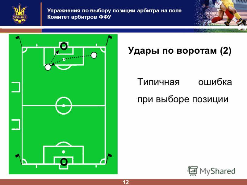 Упражнения по выбору позиции арбитра на поле Комитет арбитров ФФУ 12 Удары по воротам (2) Типичная ошибка при выборе позиции