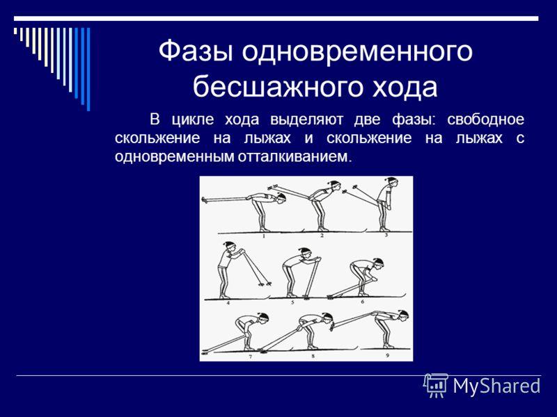Фазы одновременного бесшажного хода В цикле хода выделяют две фазы: свободное скольжение на лыжах и скольжение на лыжах с одновременным отталкиванием.