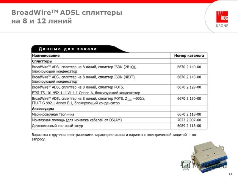 14 BroadWire TM ADSL cплиттеры на 8 и 12 линий