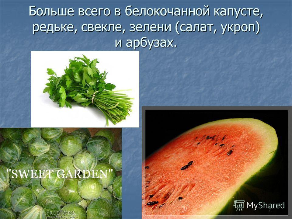 Больше всего в белокочанной капусте, редьке, свекле, зелени (салат, укроп) и арбузах.