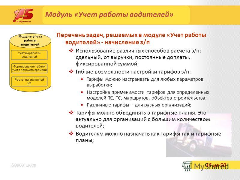 Модуль «Учет работы водителей» Перечень задач, решаемых в модуле «Учет работы водителей» - начисление з/п Использование различных способов расчета з/п: сдельный, от выручки, постоянные доплаты, фиксированной суммой; Гибкие возможности настройки тариф