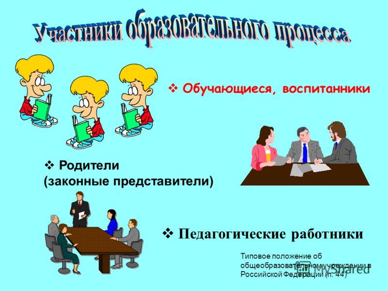 Обучающиеся, воспитанники Родители (законные представители) Педагогические работники Типовое положение об общеобразовательном учреждении в Российской Федерации (п. 44)