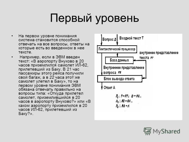 Первый уровень На первом уровне понимания система становится способной отвечать на все вопросы, ответы на которые есть во введенном в нее тексте. Например, если в ЭВМ введен текст: «В аэропорту Внуково в 20 часов приземлился самолет ИЛ-62, прилетевш