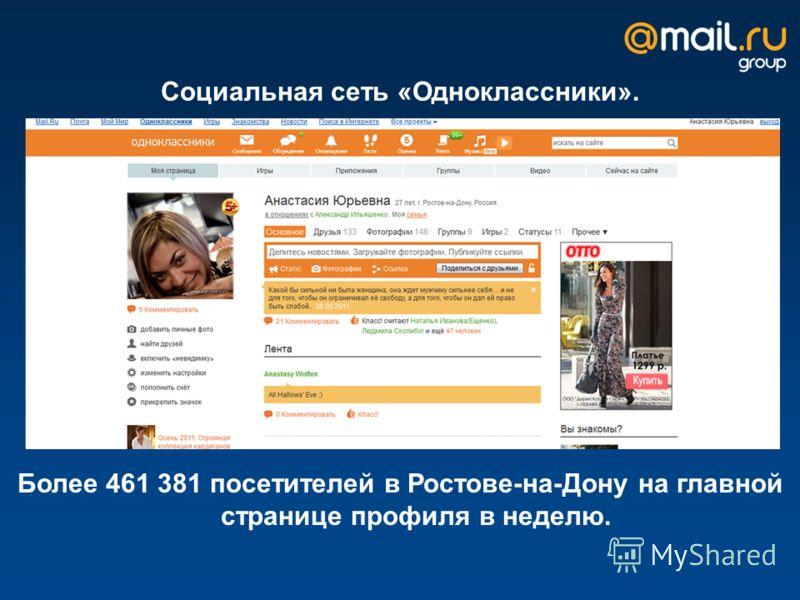 Социальная сеть «Одноклассники». Более 461 381 посетителей в Ростове-на-Дону на главной странице профиля в неделю.