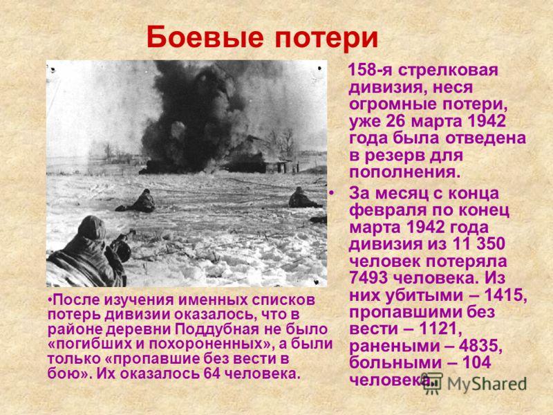 Боевые потери 158-я стрелковая дивизия, неся огромные потери, уже 26 марта 1942 года была отведена в резерв для пополнения. За месяц с конца февраля по конец марта 1942 года дивизия из 11 350 человек потеряла 7493 человека. Из них убитыми – 1415, про