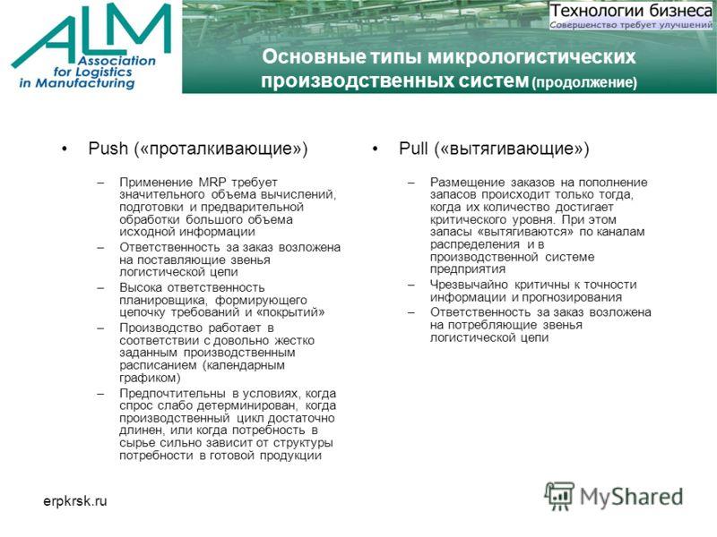 erpkrsk.ru Основные типы микрологистических производственных систем (продолжение) Push («проталкивающие») –Применение MRP требует значительного объема вычислений, подготовки и предварительной обработки большого объема исходной информации –Ответственн