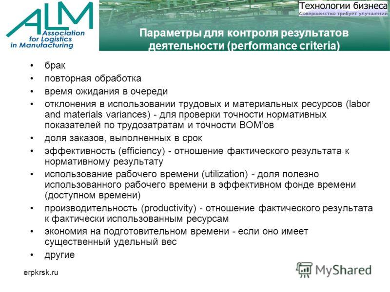 erpkrsk.ru Параметры для контроля результатов деятельности (performance criteria) брак повторная обработка время ожидания в очереди отклонения в использовании трудовых и материальных ресурсов (labor and materials variances) - для проверки точности но