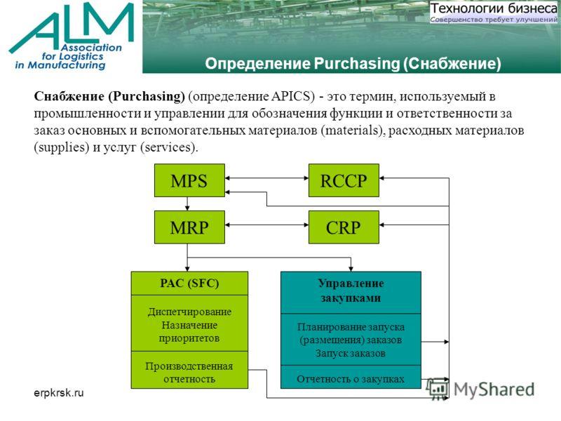 erpkrsk.ru Определение Purchasing (Снабжение) Снабжение (Purchasing) (определение APICS) - это термин, используемый в промышленности и управлении для обозначения функции и ответственности за заказ основных и вспомогательных материалов (materials), ра