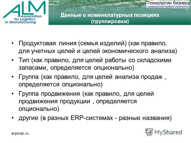 erpkrsk.ru Данные о номенклатурных позициях (группировки) Продуктовая линия (семья изделий) (как правило, для учетных целей и целей экономического анализа) Тип (как правило, для целей работы со складскими запасами, определяется опционально) Группа (к