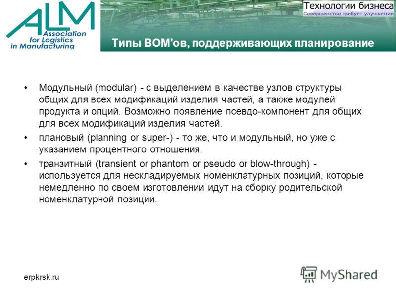 erpkrsk.ru Типы BOM'ов, поддерживающих планирование Модульный (modular) - с выделением в качестве узлов структуры общих для всех модификаций изделия частей, а также модулей продукта и опций. Возможно появление псевдо-компонент для общих для всех моди