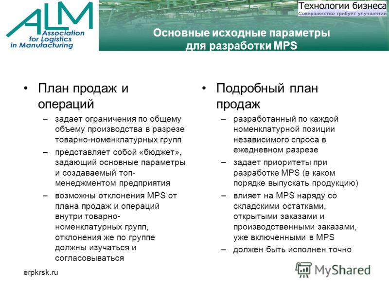 erpkrsk.ru Основные исходные параметры для разработки MPS План продаж и операций –задает ограничения по общему объему производства в разрезе товарно-номенклатурных групп –представляет собой «бюджет», задающий основные параметры и создаваемый топ- мен