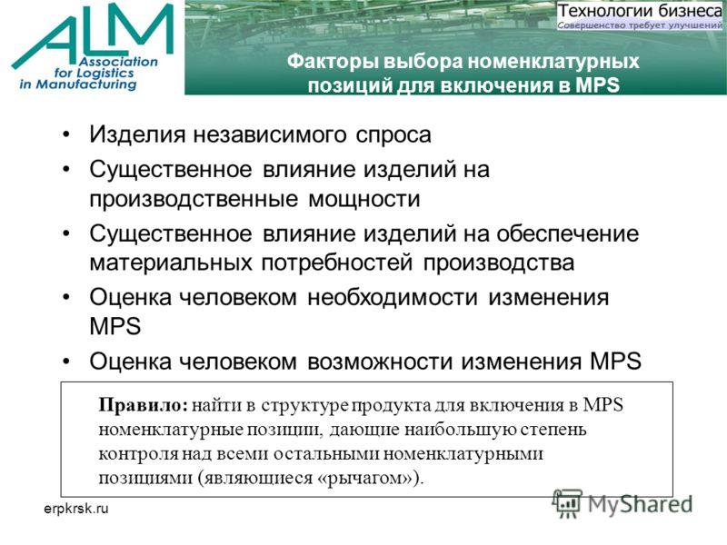 erpkrsk.ru Факторы выбора номенклатурных позиций для включения в MPS Изделия независимого спроса Существенное влияние изделий на производственные мощности Существенное влияние изделий на обеспечение материальных потребностей производства Оценка челов
