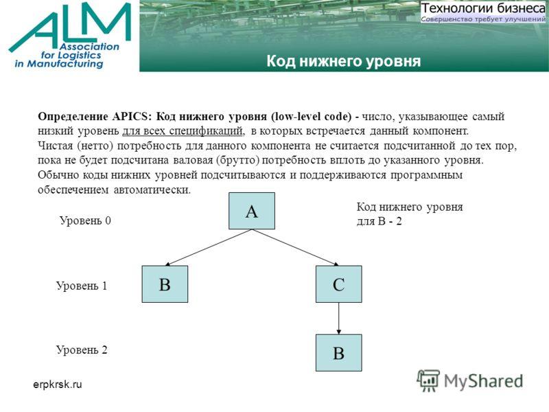 erpkrsk.ru Код нижнего уровня Определение APICS: Код нижнего уровня (low-level code) - число, указывающее самый низкий уровень для всех спецификаций, в которых встречается данный компонент. Чистая (нетто) потребность для данного компонента не считает