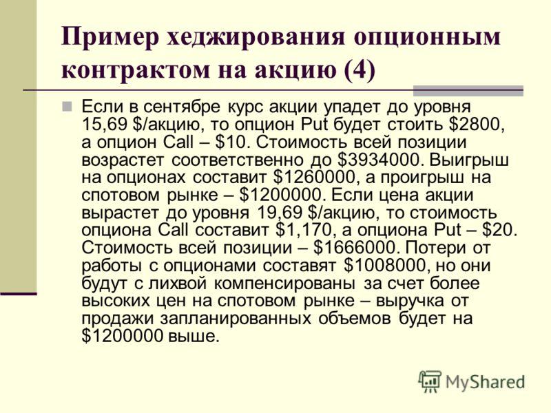 Пример хеджирования опционным контрактом на акцию (4) Если в сентябре курс акции упадет до уровня 15,69 $/акцию, то опцион Put будет стоить $2800, а опцион Call – $10. Стоимость всей позиции возрастет соответственно до $3934000. Выигрыш на опционах с