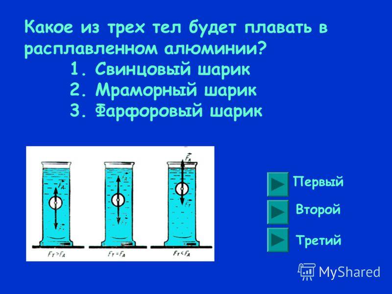 В каком из приведенных случаев тело утонет? Кусок льда в воде Слиток свинца в ртути Кусок пробки в керосине Слиток платины в ртути