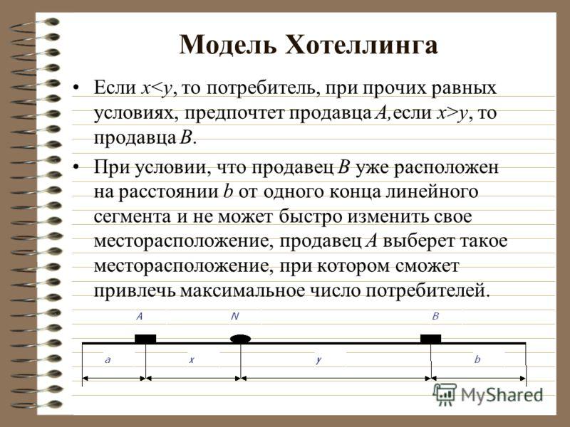 Модель Хотеллинга Если х y, то продавца B. При условии, что продавец B уже расположен на расстоянии b от одного конца линейного сегмента и не может быстро изменить свое месторасположение, продавец A выберет такое месторасположение, при котором сможет