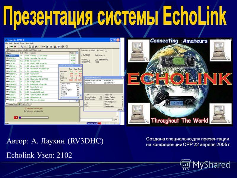 Автор: А. Лаухин (RV3DHC) Echolink Узел: 2102 Создана специально для презентации на конференции СРР 22 апреля 2005 г.