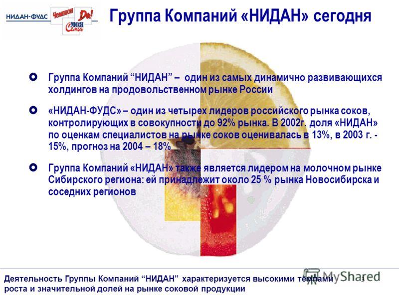 3 Группа Компаний НИДАН – один из самых динамично развивающихся холдингов на продовольственном рынке России «НИДАН-ФУДС» – один из четырех лидеров российского рынка соков, контролирующих в совокупности до 92% рынка. В 2002г. доля «НИДАН» по оценкам с